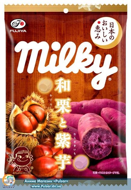 Жувальні цукерки Fujiya Milky Waguri and purple sweet potato bag 85g (Каштани і пурпурний солодкий картопля )