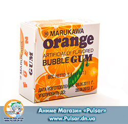 Жувальна гумка Marukawa BUBBLE GUM ORANGE FLAVOR зі смаком апельсина 5,4 гр., (6 кульок по 1,35 гр.)