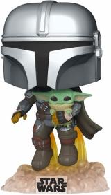 Виниловая фигурка «Funko Pop! Star Wars: The Mandalorian - Mandalorian Flying with The Child»