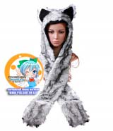 Зверошапка (SpiritHood) модель Grey White Wolf