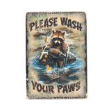 Дерев'яний постер «Please Wash Your Paws»