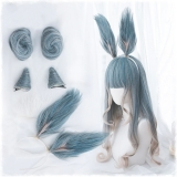 Парик Lolita Harajuku Wig Gradient Blue Mixed Color Cosplay Horns Buns Bunny Ears Sweet Curly Harajuku