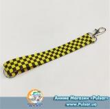 Брелок-стрічка для ключів чорно-жовта клітина