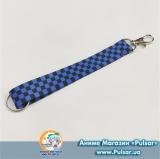 Брелок-стрічка для ключів чорно-синя клітка